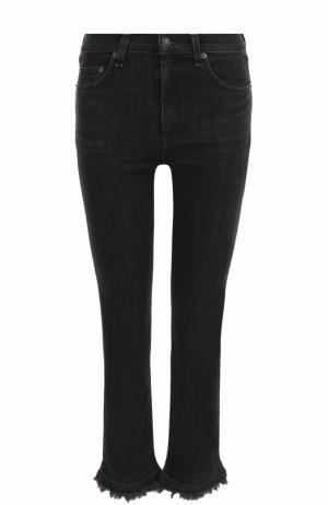 Укороченные джинсы с потертостями Rag&Bone. Цвет: черный