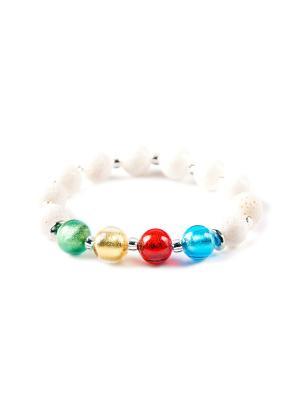 Браслет Flex, белый коралл, мультиколор Bottega Murano. Цвет: голубой, золотистый, красный
