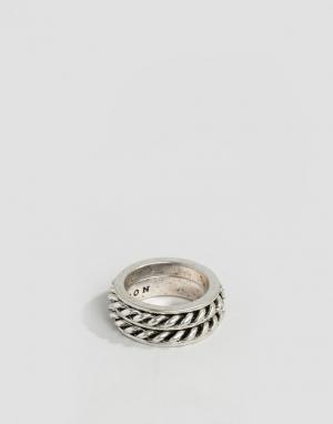 Icon Brand Серебристое кольцо с отделкой. Цвет: серебряный