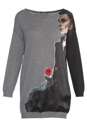 Туника из шерсти с шелковой вставкой 180448 Andrea Turchi. Цвет: разноцветный