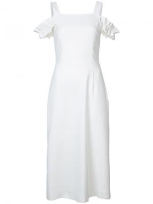 Платье с открытыми плечами Mother Of Pearl. Цвет: белый