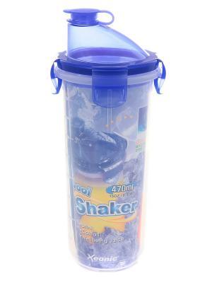 Шейкер герметичный, 470 мл XEONIC CO LTD. Цвет: синий, прозрачный