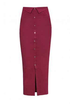 Элегантная юбка – карандаш на пуговицах с высокой посадкой PZ-2020 Sense. Цвет: красный