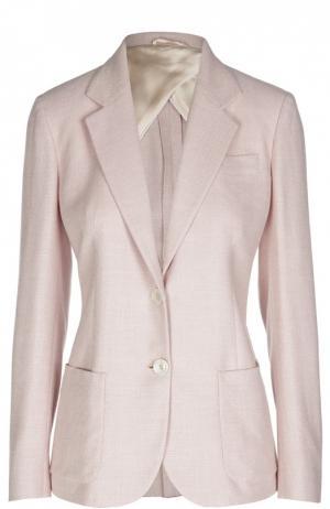 Шелковый приталенный жакет и накладными карманами Kiton. Цвет: розовый