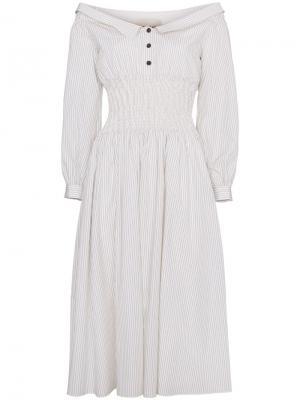Платье с открытыми плечами Sandy Liang. Цвет: белый