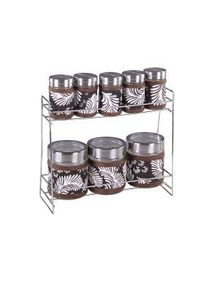 Набор банок для сыпучих продуктов и специй на металлической подставке 8 предметов, шт PATRICIA. Цвет: коричневый