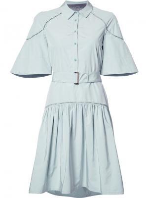 Расклешенное платье-рубашка Lela Rose. Цвет: серый