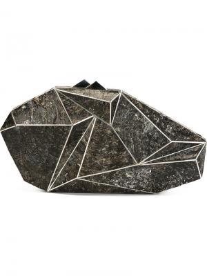 Клатч с геометрическим дизайном Nathalie Trad. Цвет: чёрный