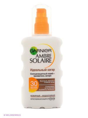Ambre Solaire Солнцезащитный спрей-проявитель загара для светлой, уже загорелой кожи,SPF 30,200 мл Garnier. Цвет: белый, оранжевый