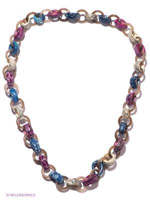 Колье Mindora. Цвет: фиолетовый, бежевый, синий, коричневый