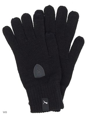 Перчатки FERRARI LS knitted gloves PUMA. Цвет: черный