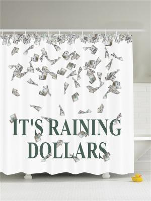 Фотоштора для ванной Ирисы и бабочки, денежный дождь, белые ромашки, бамбук, 180x200 см Magic Lady. Цвет: белый, зеленый, серый