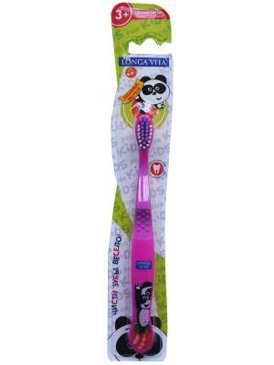 Детская зубная щетка Забавные зверята Longa Vita. Цвет: розовый