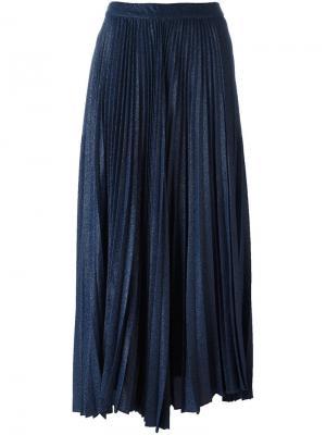 Плиссированная жаккардовая юбка Alice+Olivia. Цвет: синий