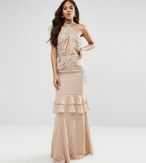 Maya Tall Платье макси с оборками на юбке. Цвет: розовый