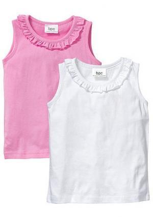 Топ, 2 штуки. Цвет: белый + розовый, розовый+голубой, светло-сиреневый+персиковый