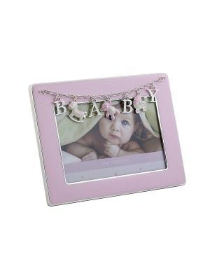 Фоторамка BABY, розовая, металлическая 10х15см PLATINUM quality. Цвет: розовый