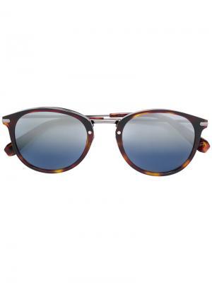 Круглые солнцезащитные очки Brioni. Цвет: коричневый