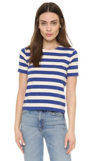 Укороченная футболка в полоску NLST. Цвет: голубой