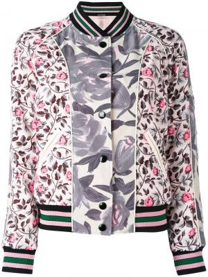 Двухсторонняя куртка-бомбер с рисунком Coach. Цвет: розовый и фиолетовый