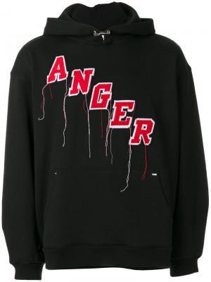 Худи с вышивкой Anger Mr. Completely. Цвет: чёрный