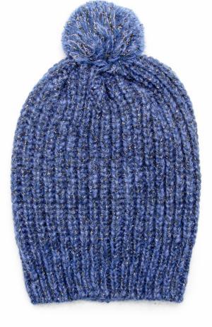 Вязаная шапка с помпоном и отделкой металлизированной нитью Deha. Цвет: синий