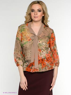 Блузка Oodji. Цвет: бежевый, оранжевый