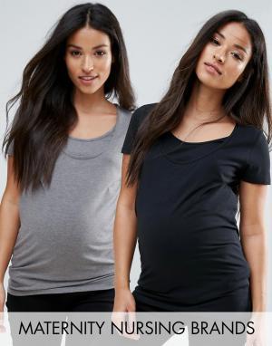 Mama.licious Набор из 2 топов с короткими рукавами для беременных и кормящих Mamali. Цвет: мульти