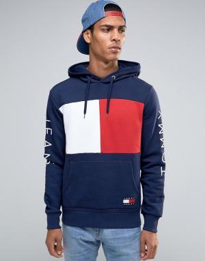 Tommy Jeans Темно-синее худи с флагом-логотипом в стиле 90‑х. Цвет: темно-синий