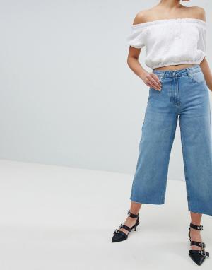 Parisian Широкие укороченные джинсы. Цвет: синий