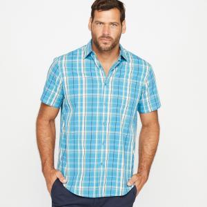 Рубашка в клетку с короткими рукавами CASTALUNA FOR MEN. Цвет: в клетку розовый/темно-синий