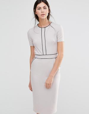 Alter Tall Платье-футляр с короткими рукавами и окантовкой. Цвет: серый