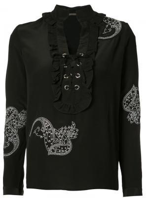 Блузка со шнуровкой спереди Dodo Bar Or. Цвет: чёрный