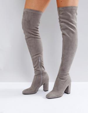 Raid Серые ботфорты на блочном каблуке. Цвет: серый