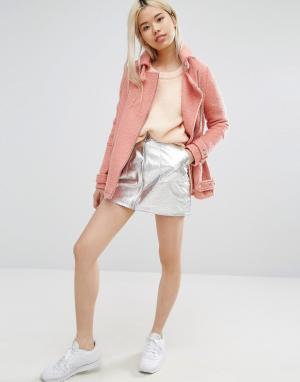 STYLE NANDA Мини-юбка цвета металлик с кольцом на молнии STYLENANDA. Цвет: серебряный