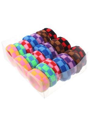 Резинки для волос в коробочке шахматы махровые, набор 21 шт, 5 см Радужки. Цвет: синий,зеленый,красный