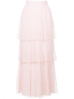 Длинная кружевная ярусная юбка Dondup. Цвет: розовый и фиолетовый