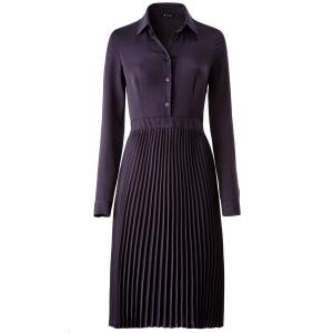 Платье со складками и длинным рукавом R édition. Цвет: синий морской