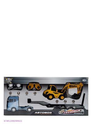 Автовоз р/у 1:32 - Экскаватор 1:20, 6 каналов Пламенный мотор. Цвет: голубой, желтый
