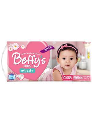 Подгузники Beffys extra dry для девочек размер M (5-10 кг.) 44 шт. Beffy's. Цвет: красный