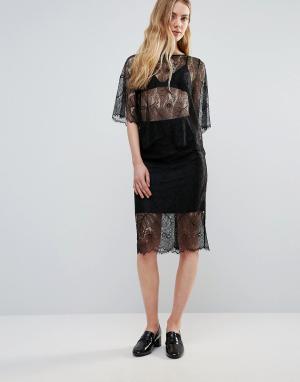 Ganni Кружевная юбка California. Цвет: черный
