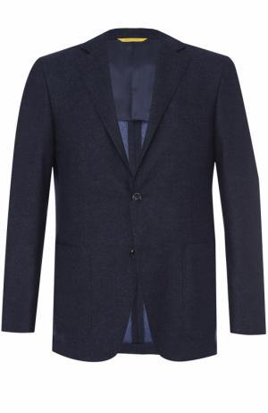 Шерстяной однобортный пиджак Canali. Цвет: синий