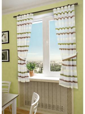 Комплект штор SANPA HOME COLLECTION. Цвет: коричневый, зеленый