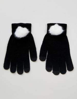 7X Перчатки из искусственного меха для сенсорного экрана. Цвет: черный
