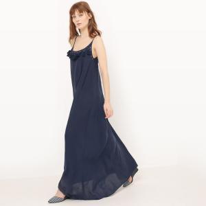 Платье длинное с тонкими бретелями и вышивкой MOLLY BRACKEN. Цвет: темно-синий