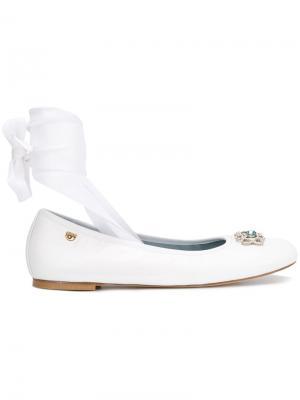 Front strap ballerina shoes Chiara Ferragni. Цвет: белый