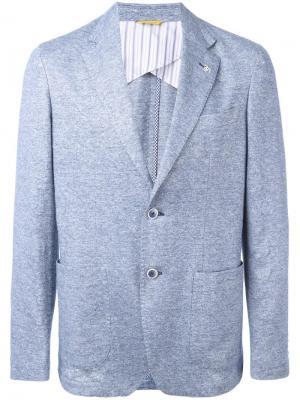 Блейзер с накладными карманами Canali. Цвет: синий