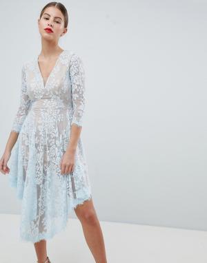 Forever Unique Кружевное платье. Цвет: синий