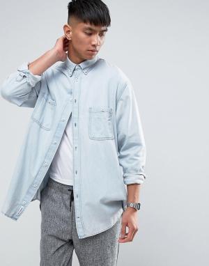 Cheap Monday Бледно-синяя джинсовая рубашка. Цвет: синий