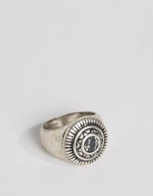 ASOS Кольцо-печатка с искусственным черным камнем. Цвет: серебряный